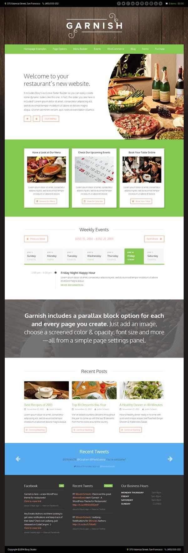 Garnish - A WordPress Theme for Restaurants