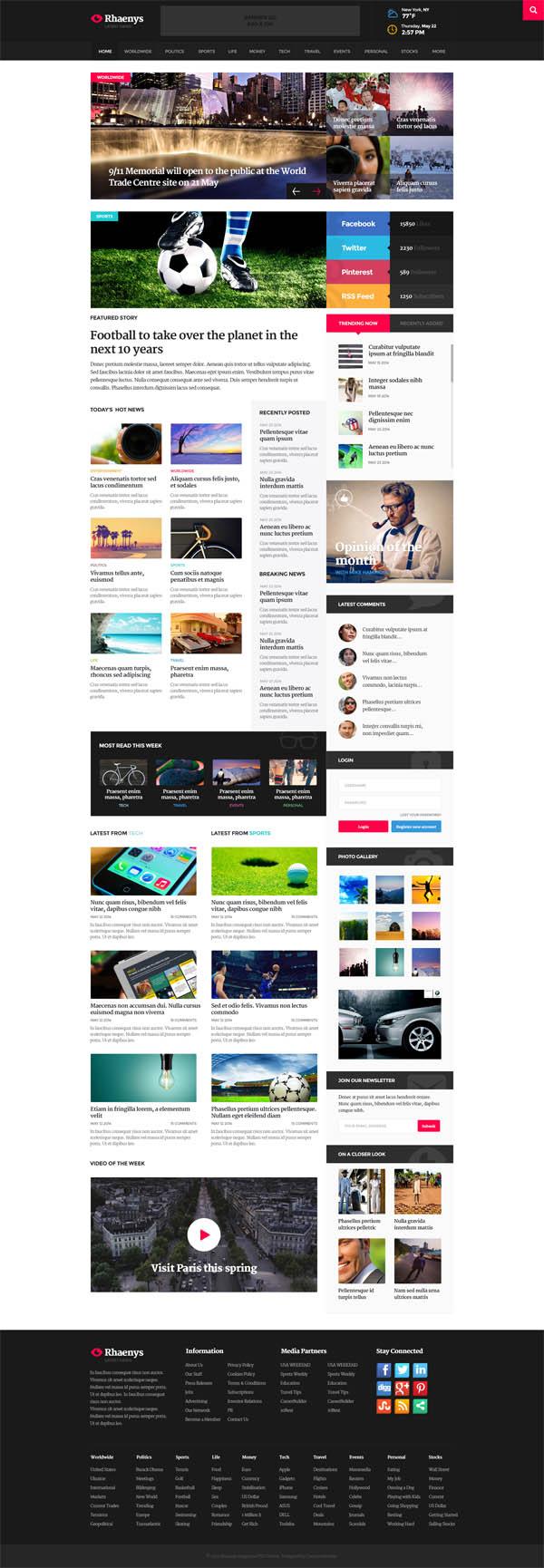 Rhaneys - PSD Magazine Theme