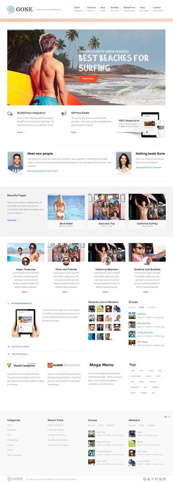 Gone – BuddyPress & WordPress Theme