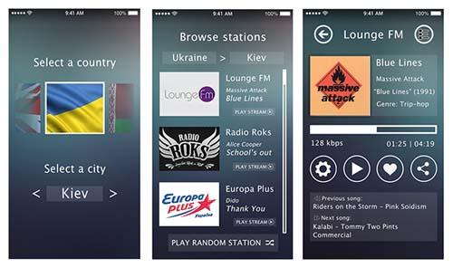 Internet Radio mobile app UI
