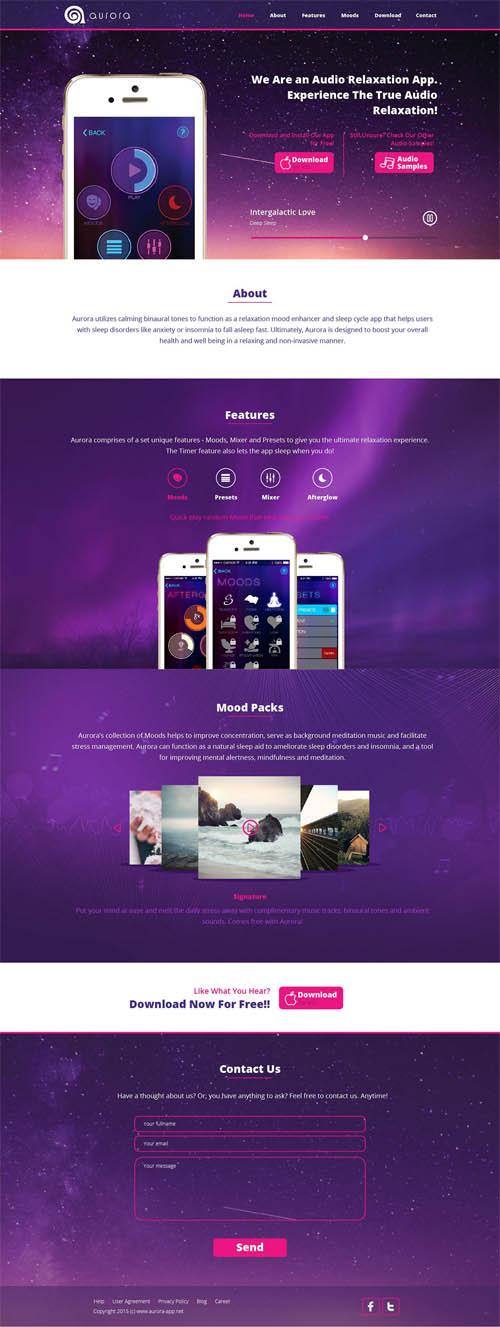 Aurora App Landing Page UI