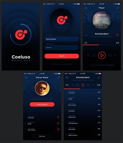 Coeluso Mobile App Free PSD