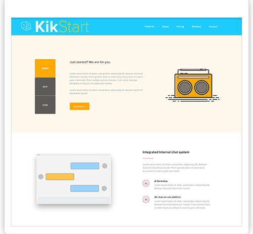 Landing Page website of an Startup suite - KikStart By Vishal Sharijay