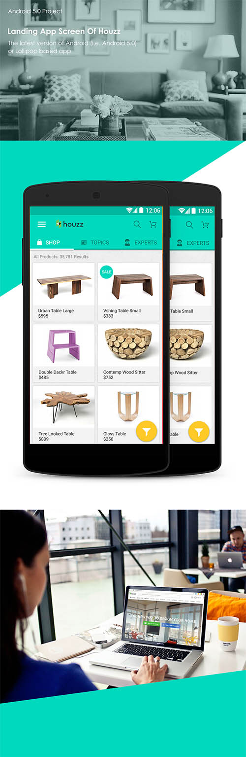 Lollipop Material Design Android 5.0 Home Decor app By Vishal Sharijay