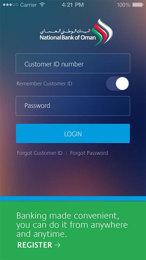 National Bank of Oman-Mobile App UI UX Designs