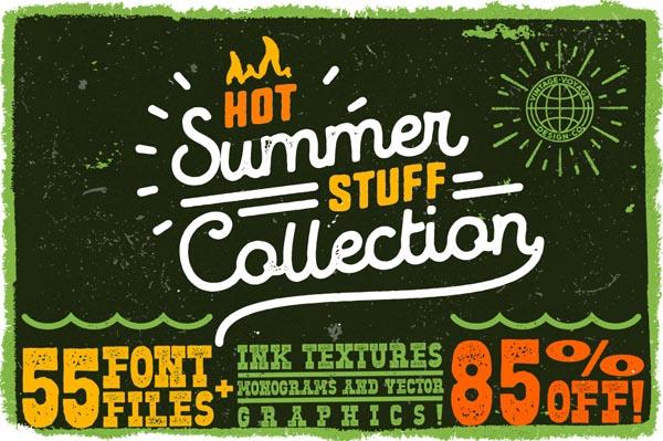 55 Fonts, Vectors and Badges Bundle for Designers - 2