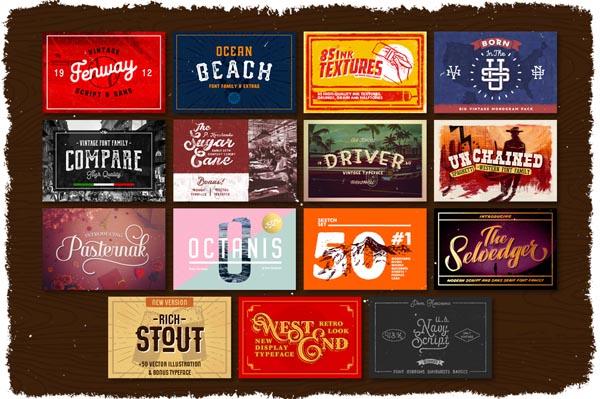 55 Fonts, Vectors and Badges Bundle for Designers - 4