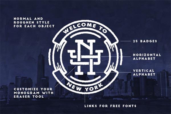 55 Fonts, Vectors and Badges Bundle for Designers - 11