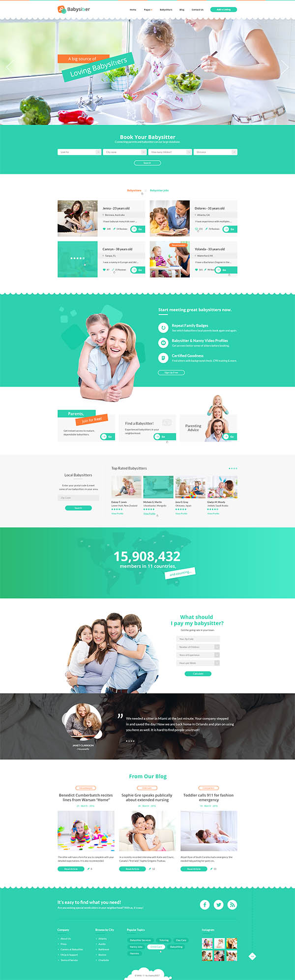 Babysitters - Jobs Directory Babysitting HTML Template