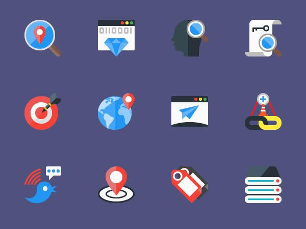 12 Seo Flat Icons