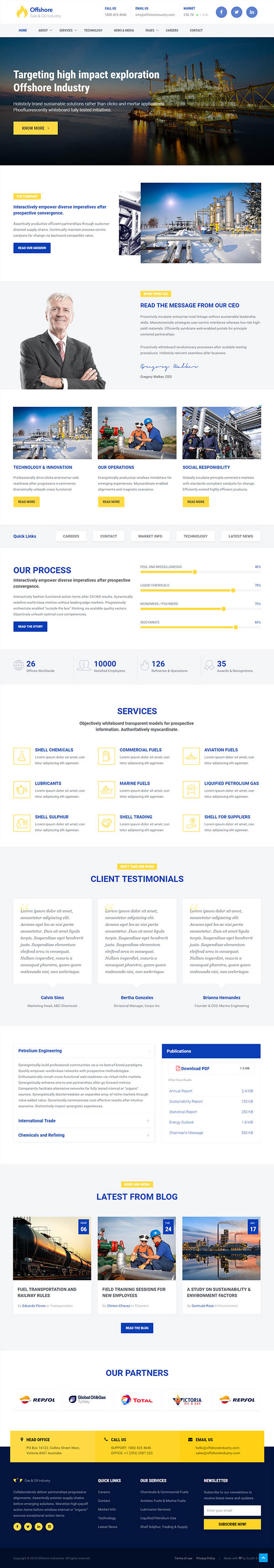 Industrial Website Template Responsive HTML5 — Offshore