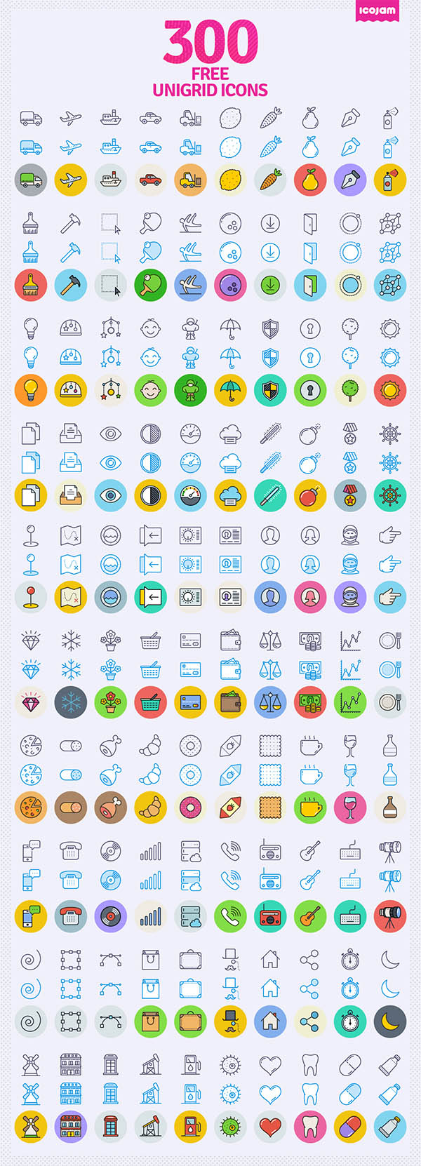 300 Unigrid icons - Free Download