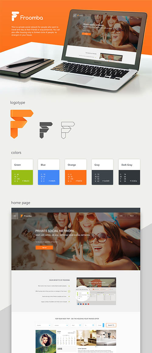 Froomba - private social network Landing Page By Julia Savchuk
