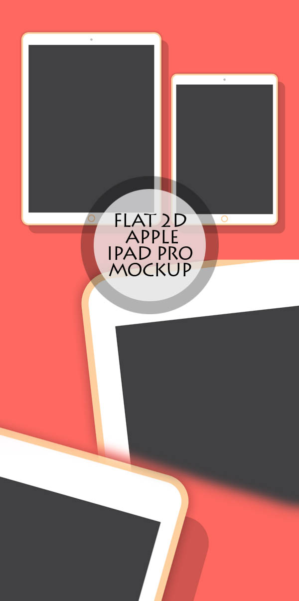 Free Flat 2D Apple 12.9 and 9.7 Inch iPad Pro Mockup