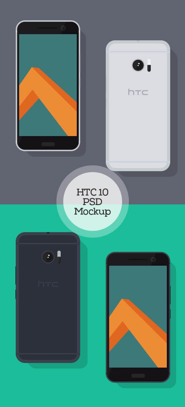 Flat HTC 10 PSD Mockup