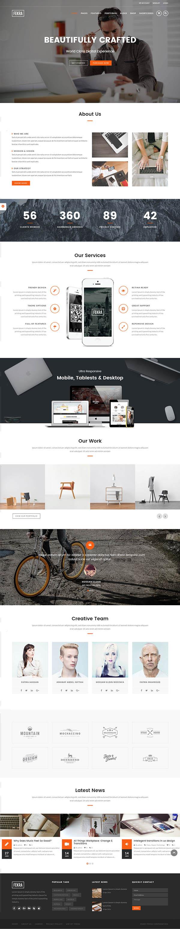 Fekra : Responsive Multi Page/One Page WordPress Theme