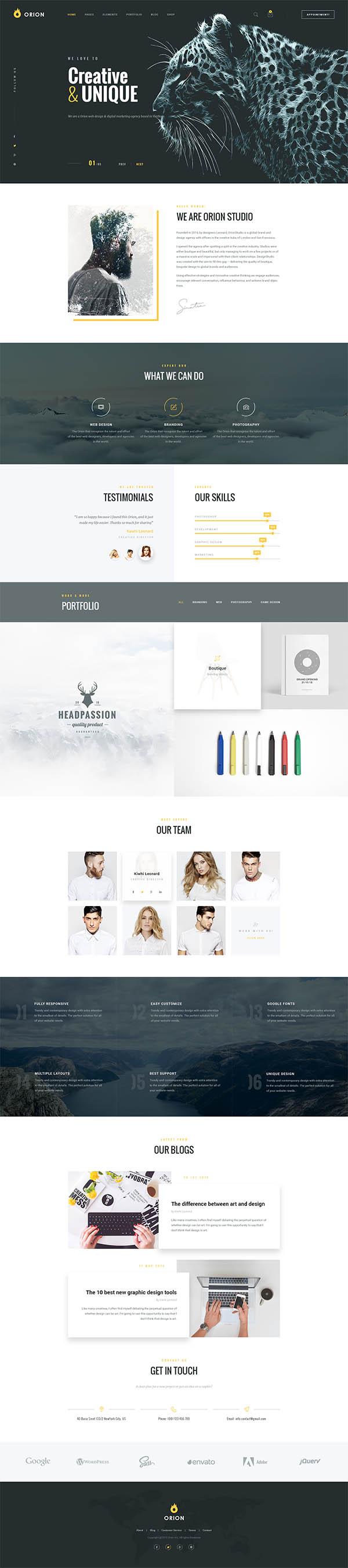 Orion | Creative Multi-Purpose PSD Template