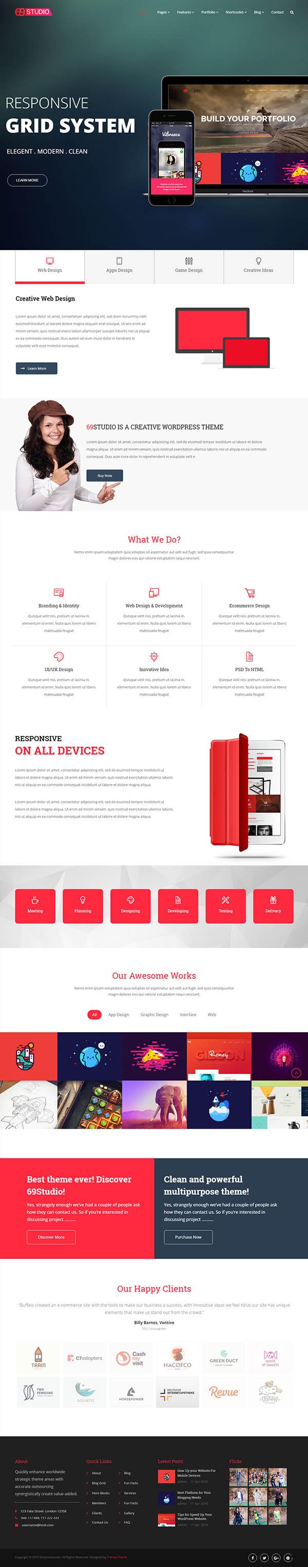 SixtyNineStudio : Creative Agency WordPress Theme