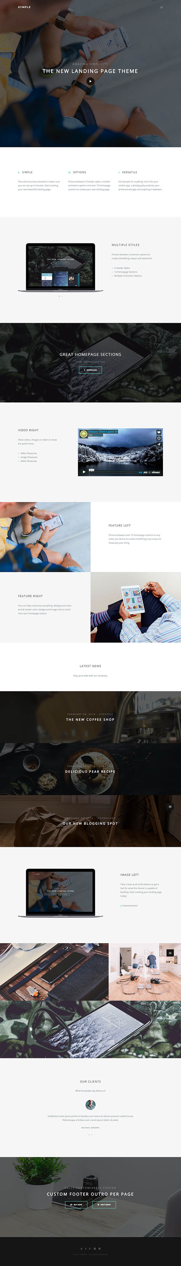 Symple - Clean & Minimal Landing Page Theme