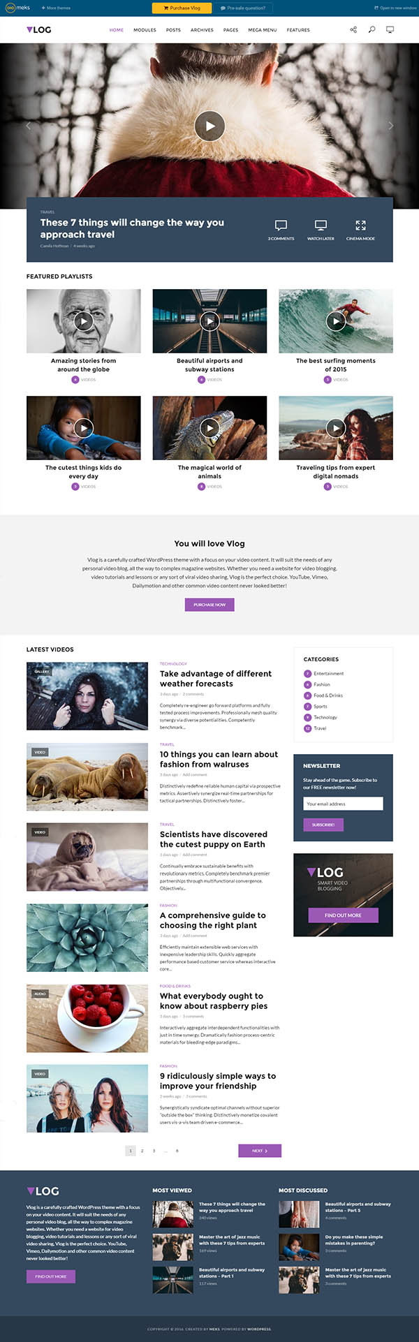 Vlog : Video Blog / Magazine WordPress Theme