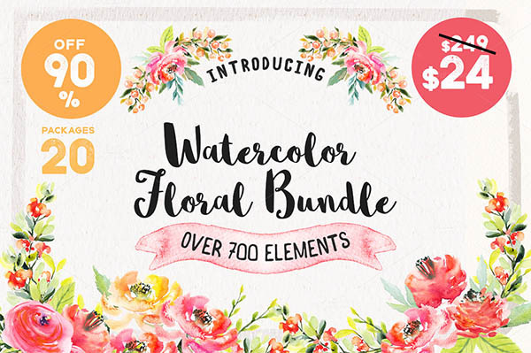 Watercolor Floral Elements for Graphic Designers - 1