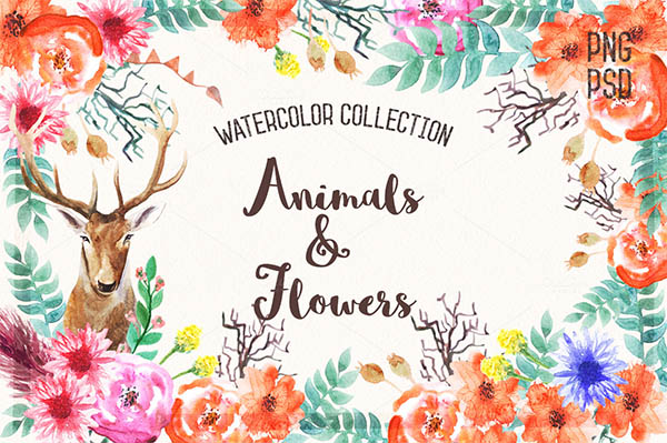 Watercolor Floral Elements for Graphic Designers - 5