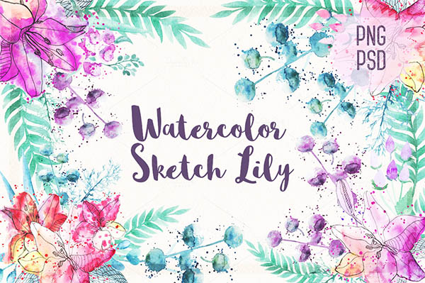 Watercolor Floral Elements for Graphic Designers - 7