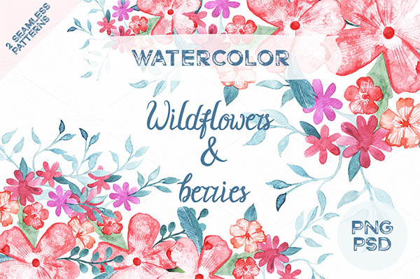 Watercolor Floral Elements for Graphic Designers - 14