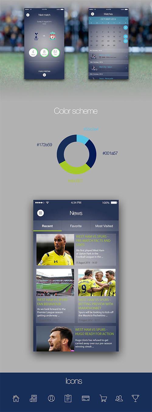 Tottenham Hotspur (Redesign concept) iOS App By Zoltan Nagy