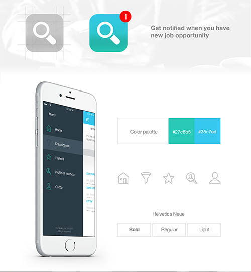 Job searching iOS app design By Zoltan Nagy