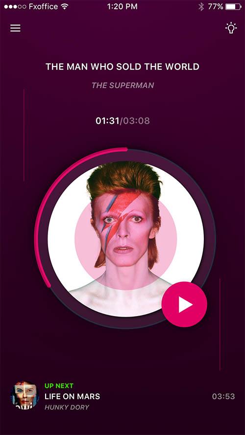 RIP David Bowie - Day69 UI/UX Free Sketch App Challenge By Serhiy Semenov