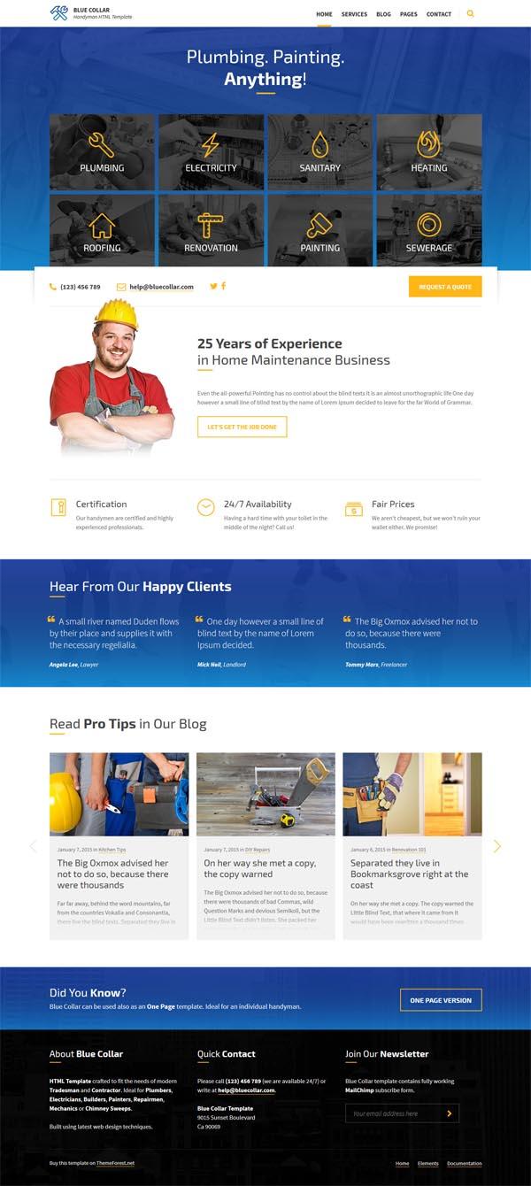 Blue Collar – Handyman HTML Template
