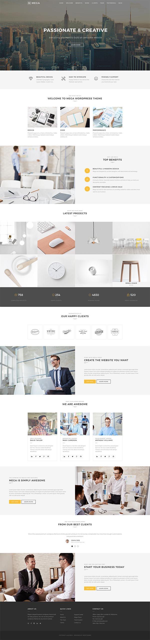 Mega One Page – Creative One Page WordPress Theme