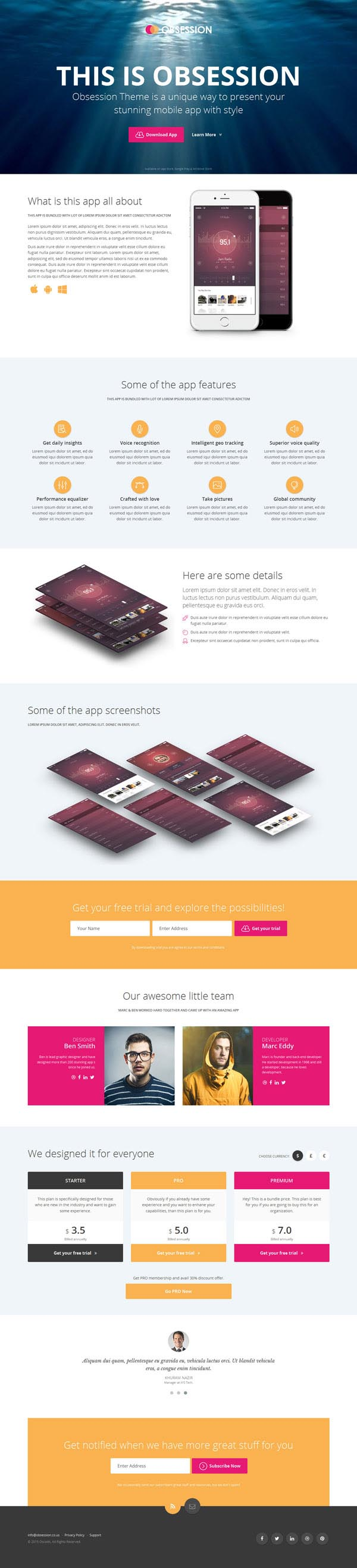 Obsession – HTML5 Bootstrap App Landing Page