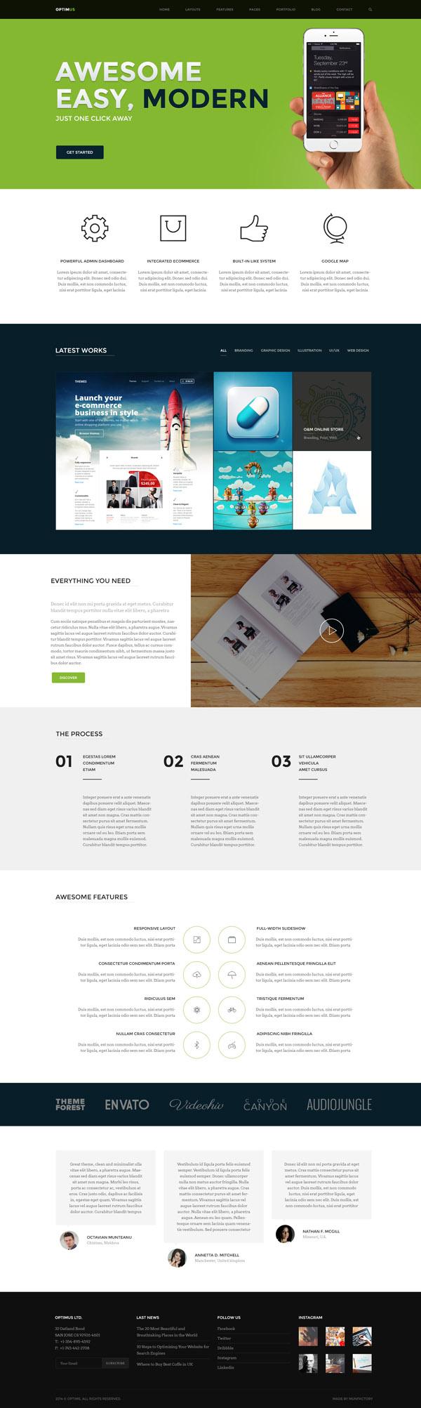 Optimus – A Super Easy to Use Multi-Concept HTML5