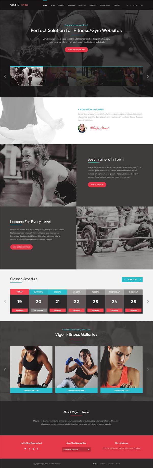 Vigor – Gym/Fitness WordPress Theme