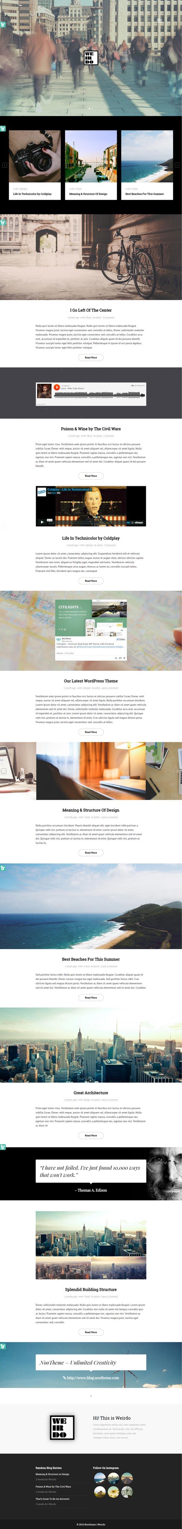 Weirdo – Unique Personal Blog HTML Template