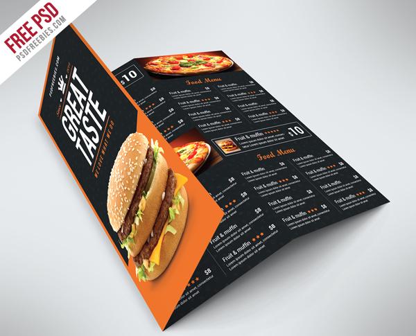 Fast Food Menu Trifold Brochure Free PSD