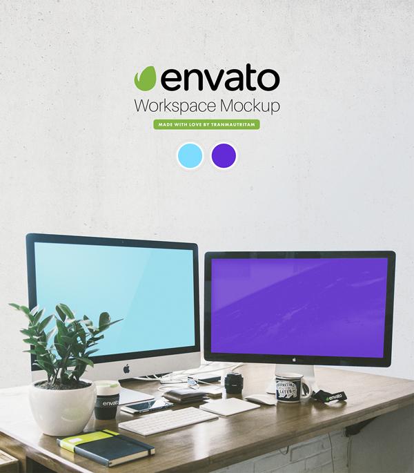 Free Envato Workspace PSD Mockup