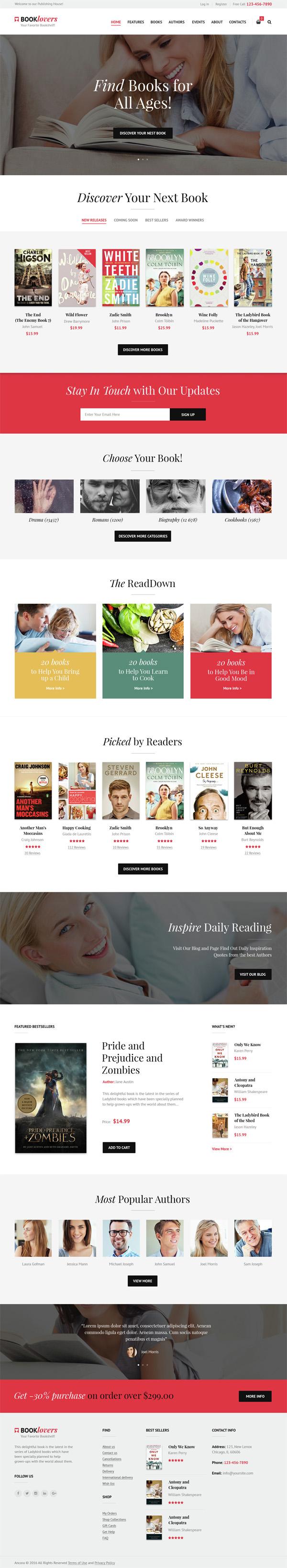 Booklovers – Publishing House & Book Store WordPress Theme