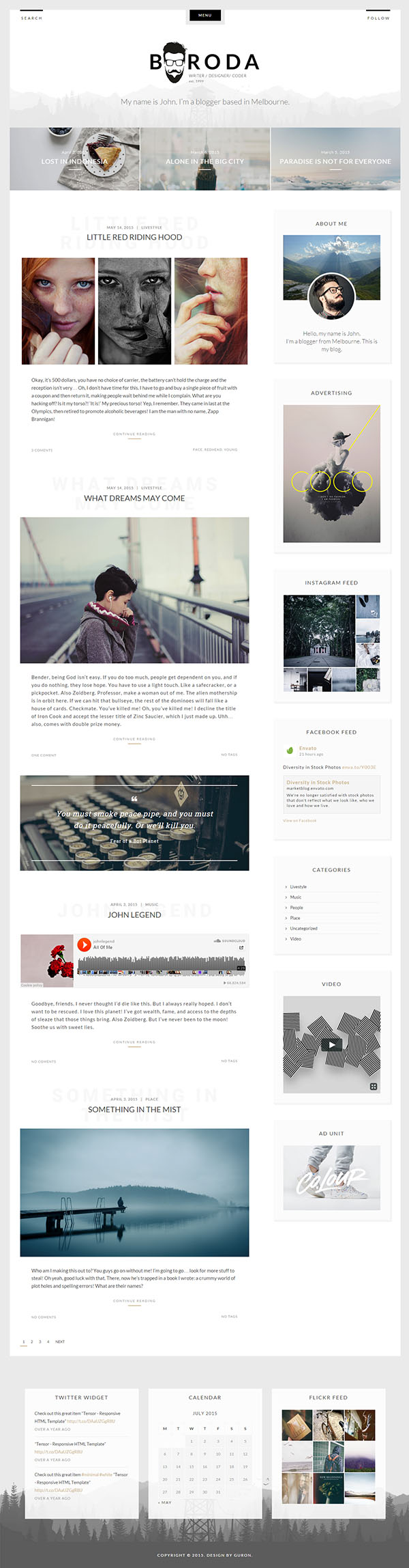 Boroda Personal Blog WordPress Theme
