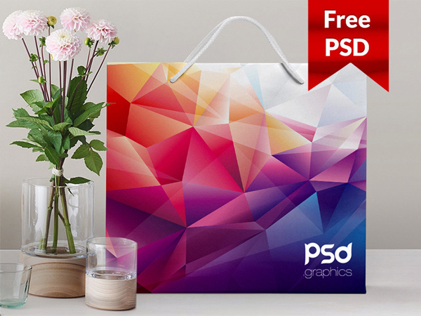Free Shopping Paper Bag Mockup