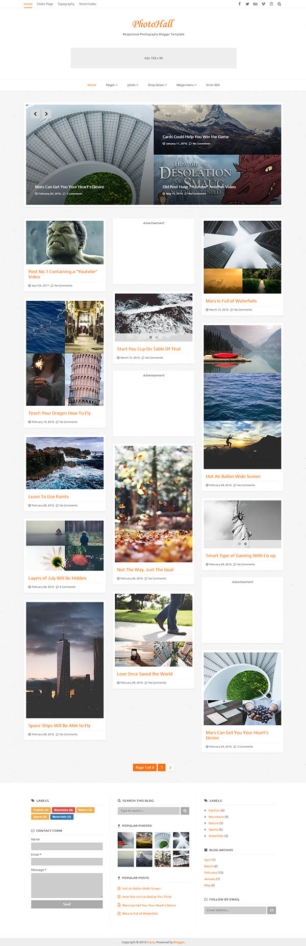 PhotoHall Responsive Photography Blogger Theme