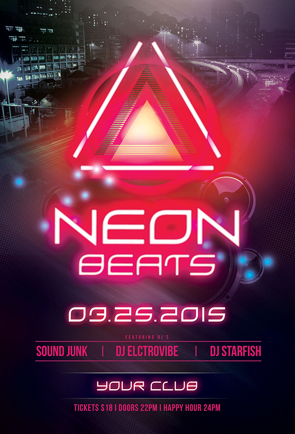 Neon Beats Flyer Template