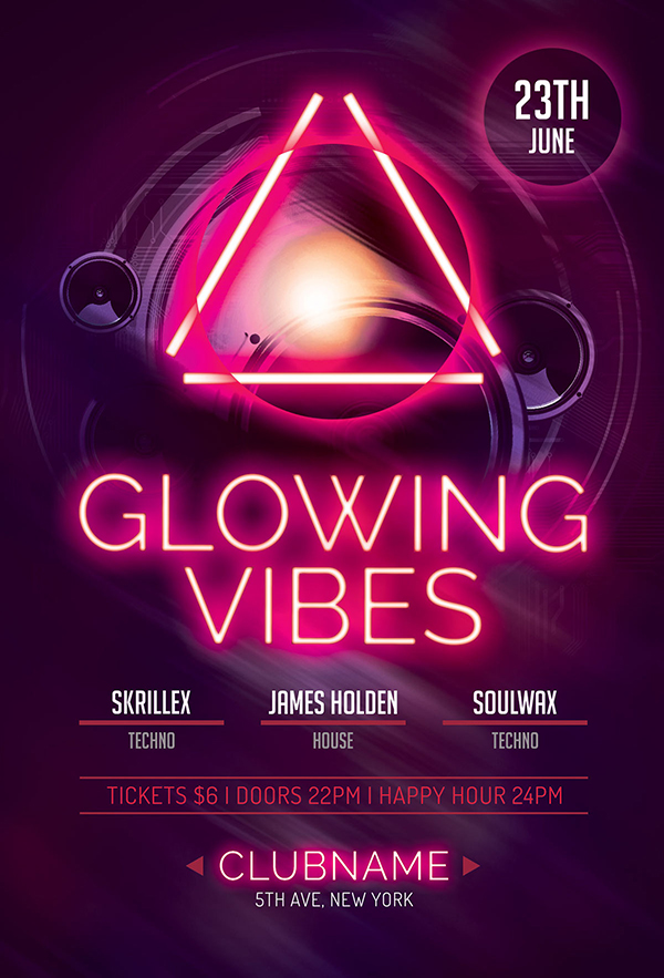 Glowing Vibes Flyer Template