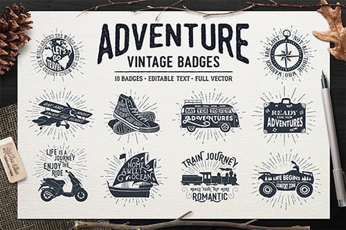 Adventure Vintage Badges