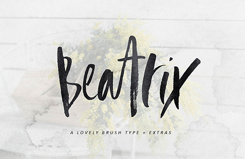 Beatrix Brush Font + Extras