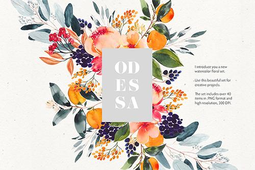 Beautiful Watercolor floral Set