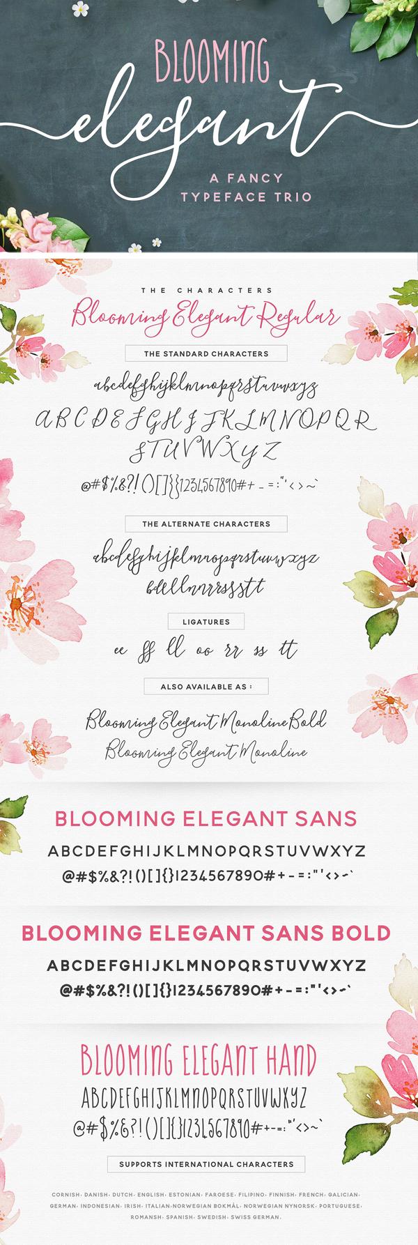 Blooming Elegant Font Trio