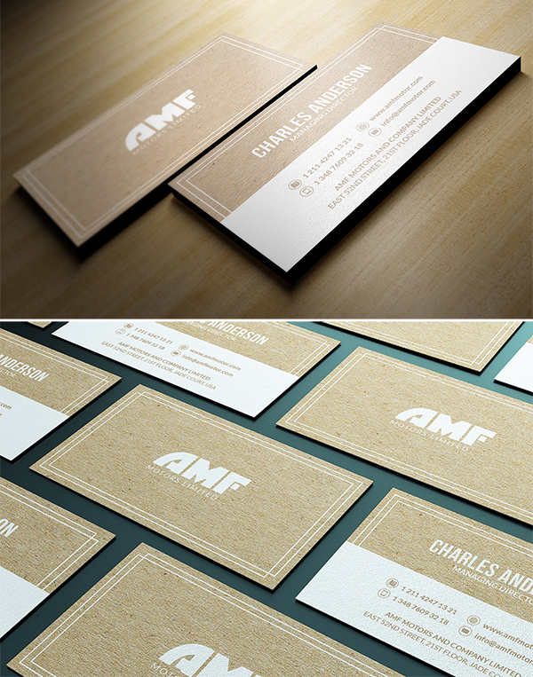 Simple Kraft Business Card Template Design
